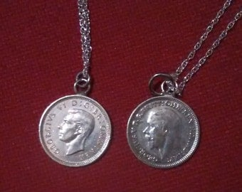 SOLID SILVER Antique Threepenny Coin Pendant