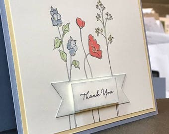 Floral Thank You card in Handmade
