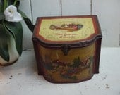 Vintage Old English Sewing Box - Sewing Tin