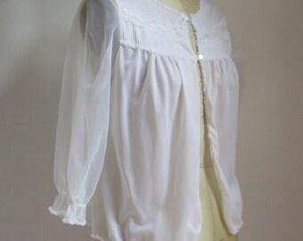 50's Bed Jacket//Bed Jacket//Nylon Bed Jacket//Vintage Lingerie