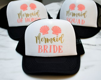 Mermaid Bachelorette Hats Squad Bridesmaid Maid of Honor - Bridal Party Bride to Be