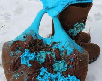 Blue brown felted handbag Felt shoulder bag handle Flower purse Unique Azure Totes Chocolate Wearable art OOAK Woodland gift Bohemian