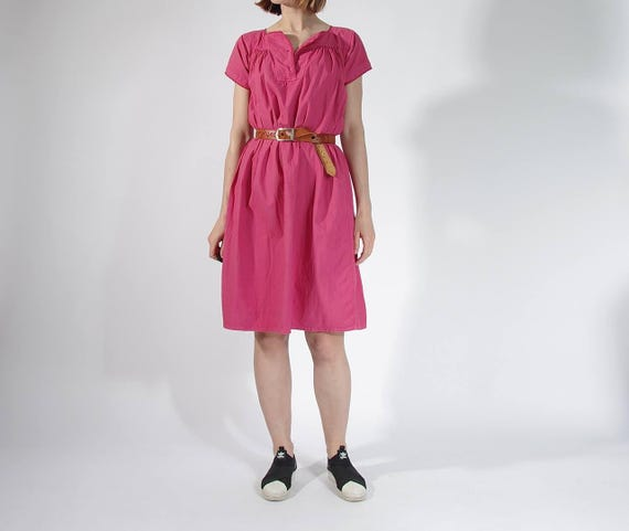 SALE - 70s Boho Pink Flamingo Casual Fit Summer Dress / Size S