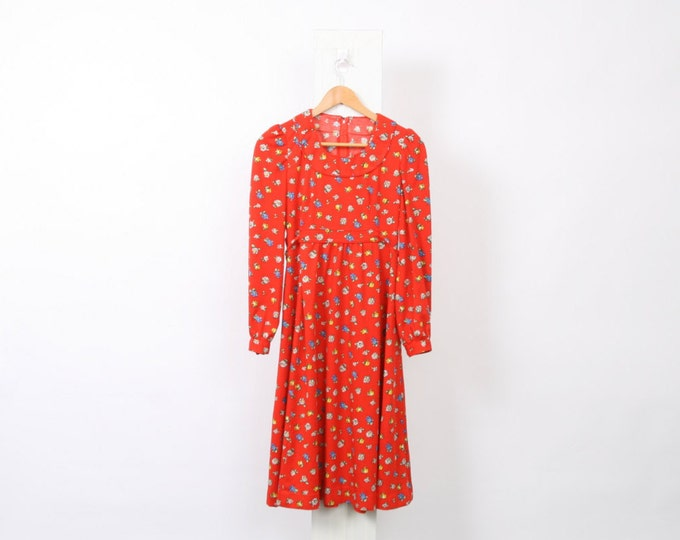 Daisy 70s Vintage Rose Flower Red Womens AU 8 US 4 Polyester Boho Hippy Flower Floral Long Sleeve Dress