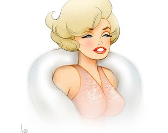 Marilyn Monroe art print signed by Dave Woodman