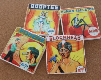 Set of 4 Tumbled Marble Tile Coasters - Vintage Circus Sideshow Acts
