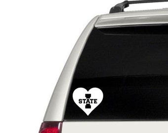 Heart Iowa State Vinyl Decal, Phone Decal, Laptop Decal, Car Decal, Choose Color And Size