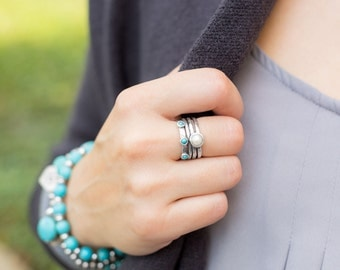 Pearl & Turquoise Multi-band Stacked Ring - Sterling Silver