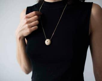 sea urchin Necklace, Gold Sea Urchin, long necklace silver, organic necklace, sea shell necklace, beach jewelry, Sea urchin gold