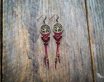 Tree of Life macrame earrings boho yoga jewelry zero allergy hooks handmade by Creations Mariposa BO-AVM