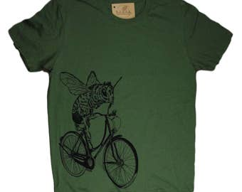 Funny Graphic Tee - Mens T Shirt - Military Green T Shirts - Crew Neck Tees - Honey Bee Tee Shirts - Bee on a Bike S M L XL 2XL