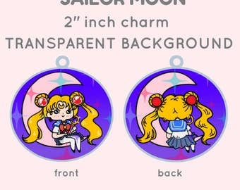 """Chibi Sailor Moon Usagi, a kawaii acrylic charm 2""""inch  (Transclucent and double sided)"""