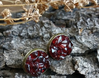 Stud earrings Garnet earrings Gift for women January birthstone earrings Everyday stone studs Gift for her Garnet studs Stone stud earrings