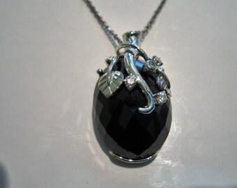 Black Spinel and diamond white gold necklace
