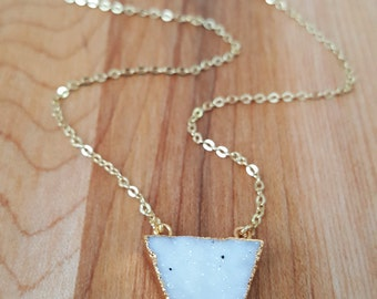 Sparkly Natural White Druzy Triangle Necklace 14K Gold Filled // Boho Jewelry //  Luxe // Boho Necklace // Druzy Necklace //  Triangle Druzy
