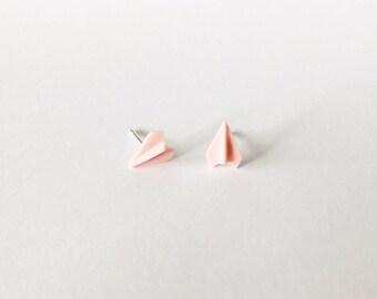 Pink Paper Plane Earrings - Ceramic earrings - Post earrings - Stud earrings - Pink earrings - Paper Airplane - Plane Studs