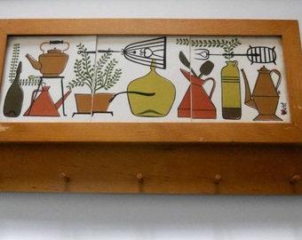 Robert Darr Wert framed tile wall hanging/key holder