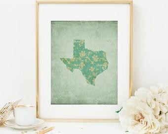 texas printable texas state wall art texas decor texas silhouette green floral state print map print
