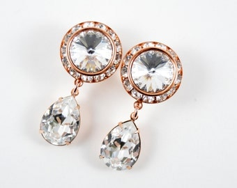 5/8 9/16 1/2 1 PAIR Rose Gold Clear Crystal Dangle Hanging Ear Plugs Gauges Tunnels or Studs Made With SWAROVSKI Elements Wedding Bridal