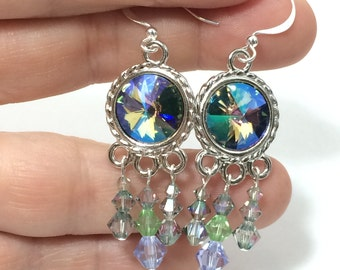 Swarovski Paradise Shine Earrings ~ Swarovski Chandelier Earrings ~ Swarovski Rivoli Earrings ~ Swarovski Crystal BOHO Earrings