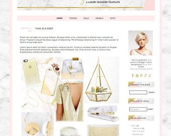 Blogger template. Blog design. Stunning Marble. Responsive blogger theme. Premade template. Modern, gold foil texture, elegant, premium