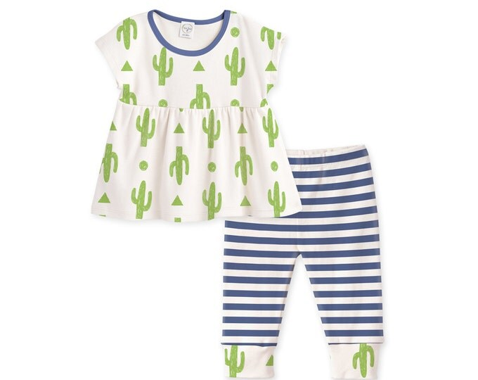 SUMMER SALE! Baby Girl Outfit Summer, Girl Baby Summer Outfit, Baby Top Leggings, Baby Girl Top, Baby Stripe Cactus Outfit TL020CIIO0000