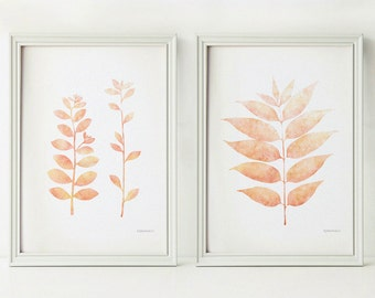 Apricot home decor prints, Kitchen wall decor, Kitchen art prints, Peach leaves digital download Set of 2 Wall prints, Apartment wall decor