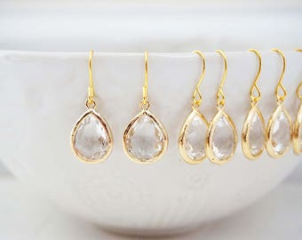 Dainty Crystal Gem Earrings | Bridesmaid Earrings | Wedding Jewelry  ECG1, ECS1