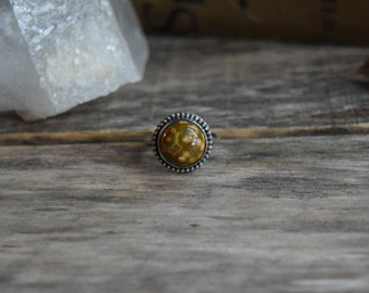 Ocean Jasper Ring, Ocean Jasper Jewelry, Green Ocean Jasper, Green Gemstone, Earthy Ring, Forest Green