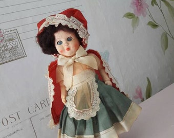Vintage doll, Little Red Riding Hood, collectible dolls, 1960's  souvenir gift.