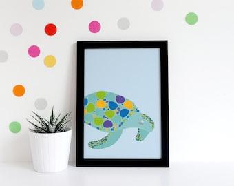 Nursery Decor Girls - Mermaid Nursery - Turtle Print - Mermaid Nursery Art - Animal Nursery - Mermaid Wall Decor - Nursery Poster - Gifts -