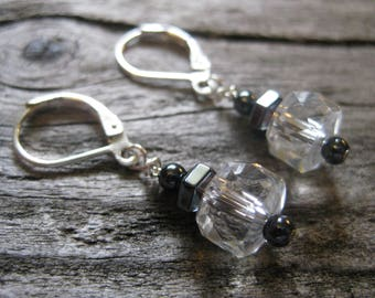 CLEAR faceted CRYSTAL & HEMATITE earrings, sterling lever backs, 3/4 inch dangle. Natural had cut and faceted crystals and gems.