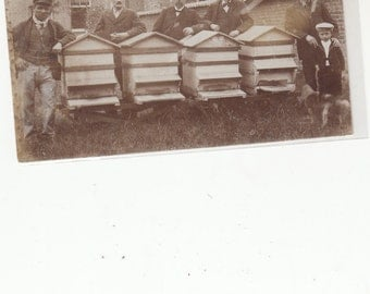 Beekeeping Bee Hives RARE 1900 Real Photo Group Belgium-Undivided Back Antique Postcard,Unused