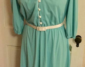 REDUCED! New w/ Tags Vintage 1970s Mod Blue Pastel Dress - Size 10 or Medium - Excellent condition!