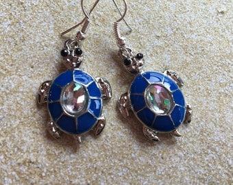 Blue Turtle Earrings, Turtle Earrings, Blue Earrings, Gift For Her Trending Item