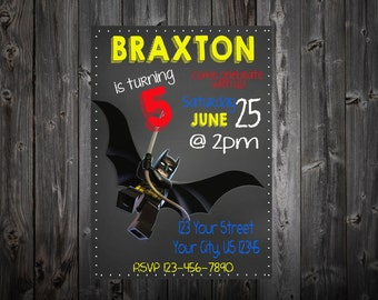 Batman Lego Chalk Board Birthday Party Invitation
