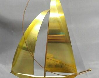 Old vintage Mid Century Modern metal art sculpture sailboat nautical decor 70s