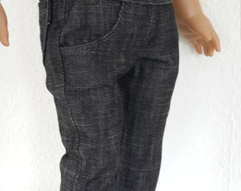 Black  denim jean pants for 18 inch Boy doll -  Boy  pants -  doll clothes -  doll casual / smart pants