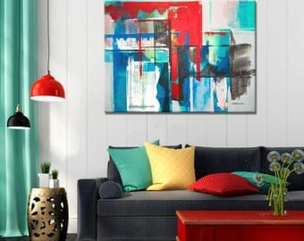 Painting Blue and Orange, Abstract Painting, Two Pieces Modern Painting, Original Painting