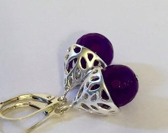 Purple jade earrings with sterling silver, lever back earrings, long lake studio, elegant earrings