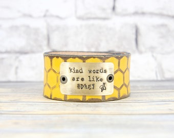 Leather Cuff Bracelet - Leather Cuff - Leather Bracelet - Religious Gift - Boho Bracelet - Hand Stamped - Inspirational Gift - Metal Stamped