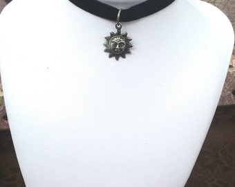Black Velvet Choker, Charm Choker, Sun Necklace, Charm Necklace, Choker Necklace, Festival Jewelry, Upcycled Necklace - 00
