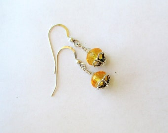 Sterling and Citrine Earrings, Citrine and SS Dangle Earrings, Faceted Citrine Rondelle Earrings, November Birthstone,  11mm drop,