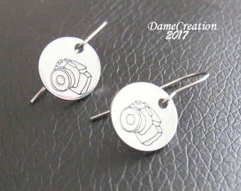 SALE Camera Earrings - Camera Jewelry - Sterling Silver Earrings - Photography Gifts - Gift for Photographer - Stamped Earrings