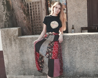 Patch Me Up' Floral  Hippie Maxi Skirt