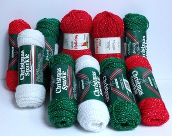 Bundle of Bernat Glitter Yarn, Christmas Sparkle Yarn Destash, Bright Green Red & White Acrylic with Silver Sparkles