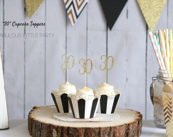 30th Birthday Decorations Cupcake Toppers, Anniversary Decor, 20th 25th 30th 35th 40th 45th 50th, Birthday Party Decor, Gold Dessert Table