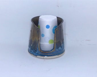 Porcelain Bathroom Cup Holder (3 Ounce) - Blue and Bronze Cup Holder - Pottery Bathroom Cup Holder Cup Holder - Ready To Ship