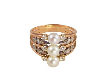Antique pearl ring. Natural saltwater pearl and diamond ring circa 1890.