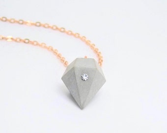 Necklace concrete diamond with glass crystal chaton - Rosé gold-antique copper-silver gold - gift